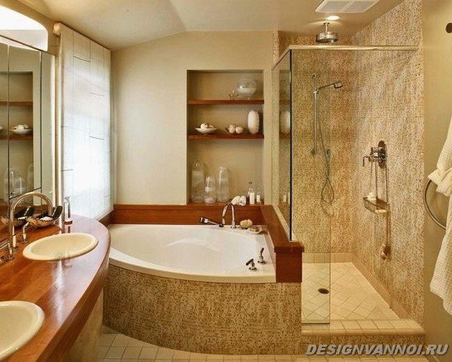 дизайн и размер угловой ванны