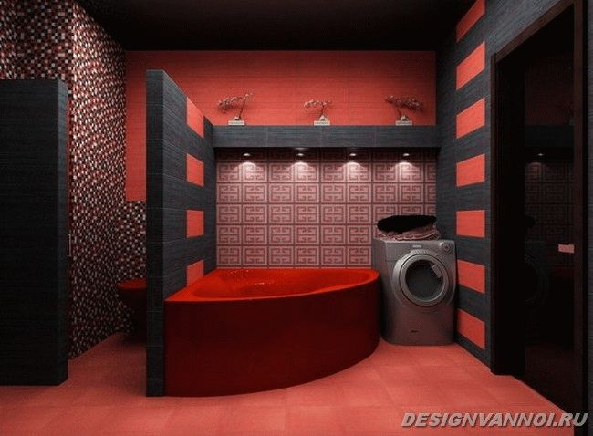 красная угловая ванна