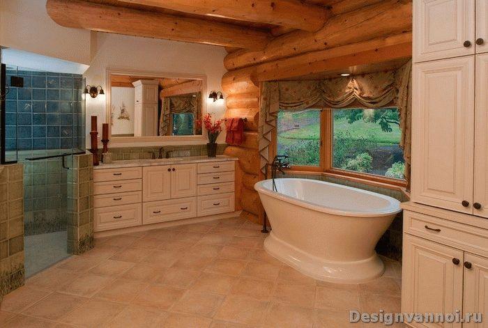 ванная комната в деревянном дома