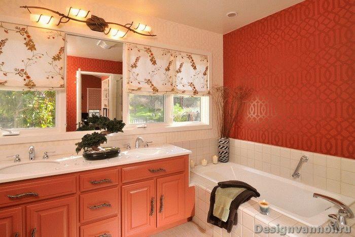 оранжевая ванная комната дизайн фото