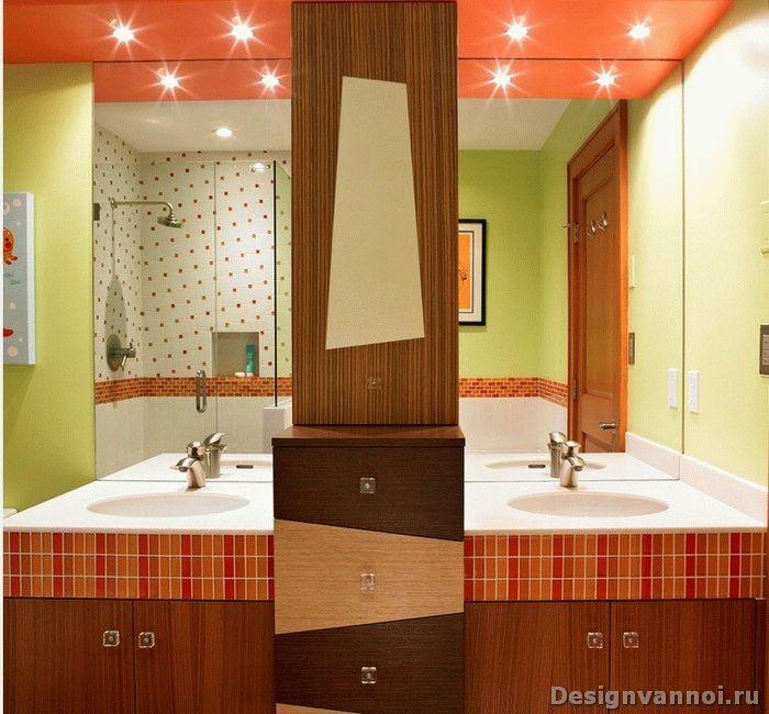 Дизайн оранжевой ванны