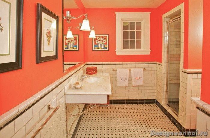 Сочетание оранжевых и белых тонов в дизайне ванной