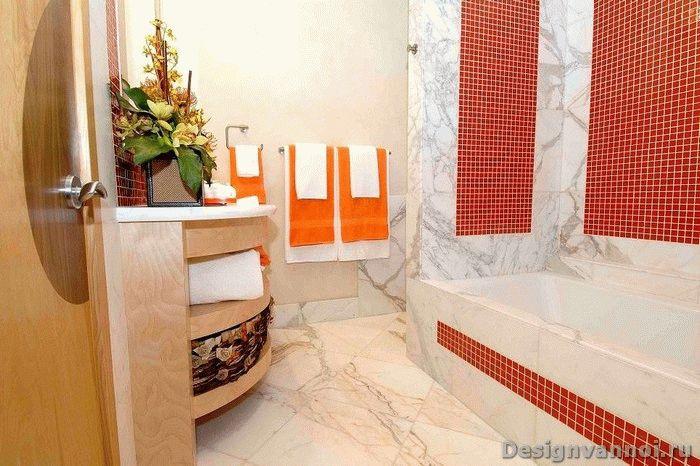 Оранжевые аксессуары для ванной комнаты