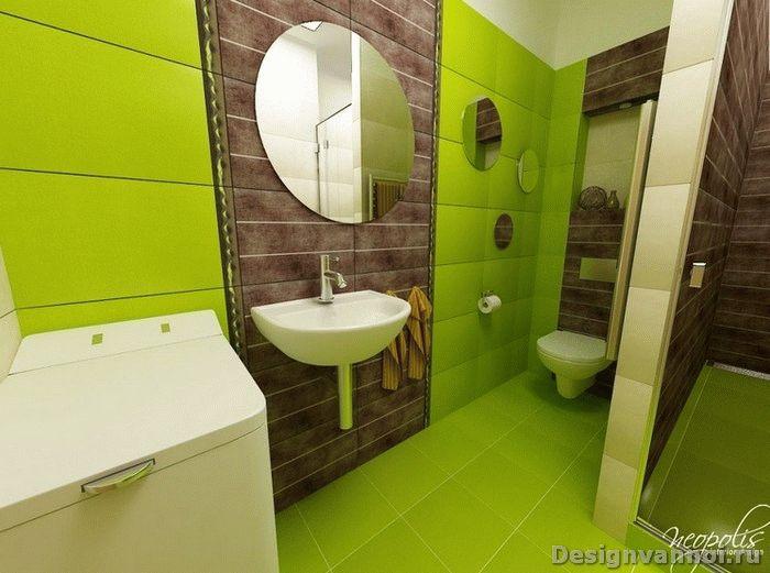 интерьер зеленой ванной комнаты