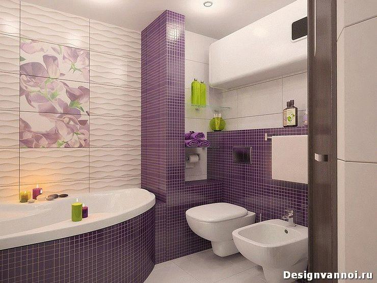 Дизайн ванной фото сиреневого цвета плитка 17